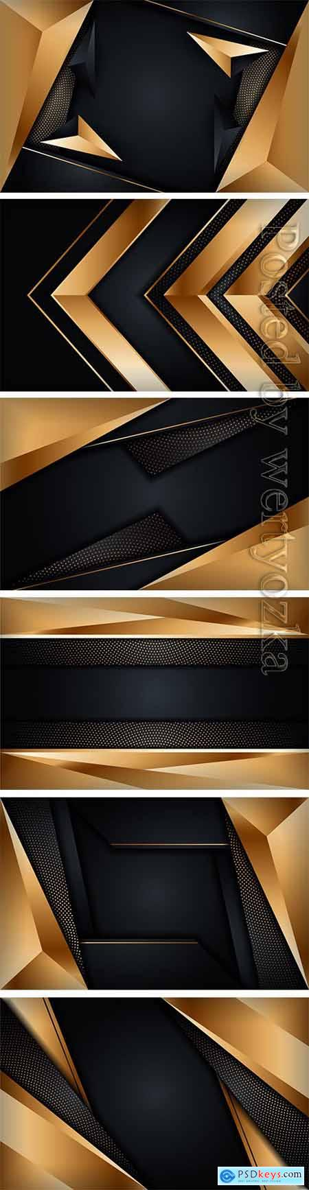 Abstract luxury dark background with golden lines combinations
