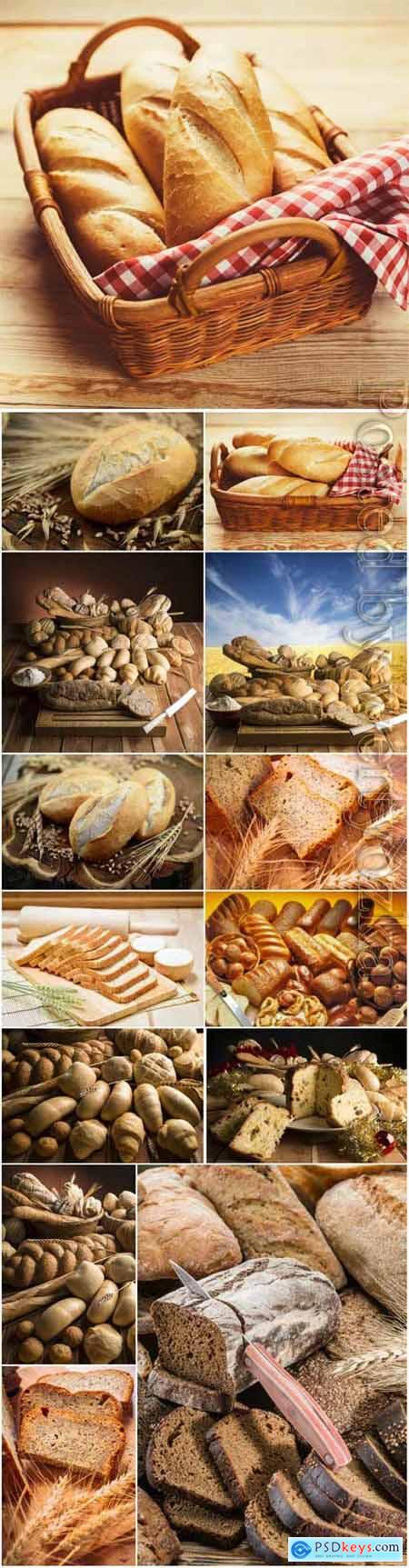 Baskets with fresh bread stock photo