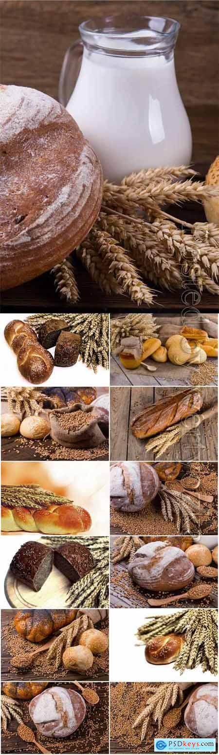 Fresh bread and milk stock photo