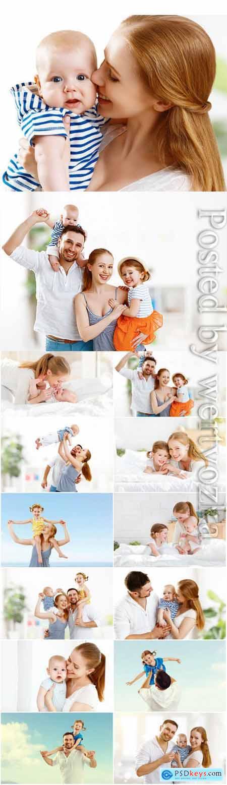 Happy cheerful family stock photo