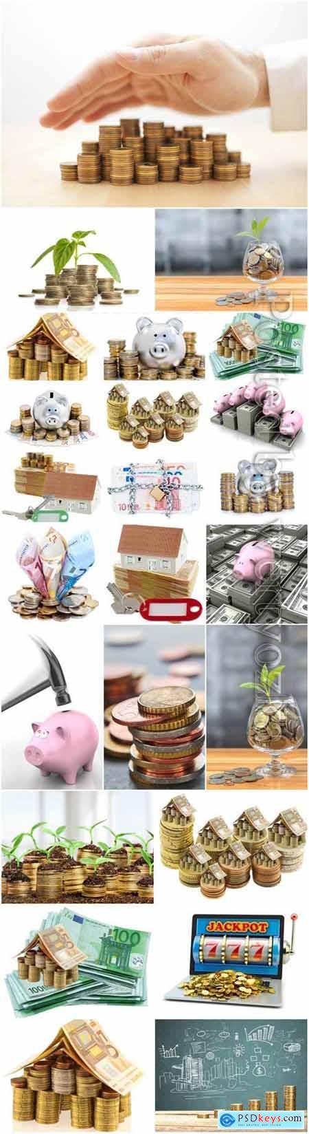 Banknotes, coins stock photo