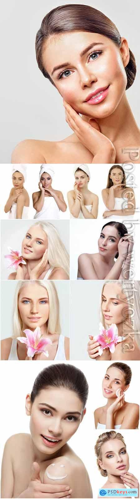 Healthy well-groomed skin of women face stock photo