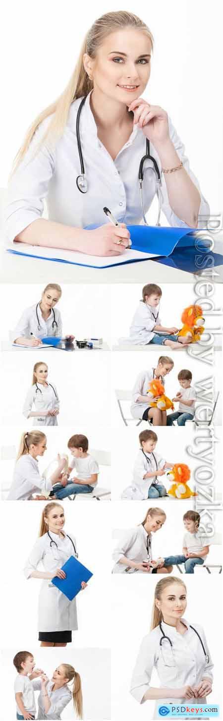 Woman pediatrician stock photo