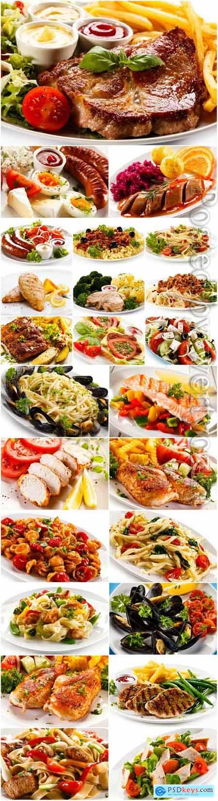Delicious food, meat and vegetables stock photo