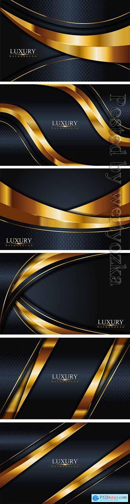 Luxury dark navy combination with golden lines background, graphic element vector