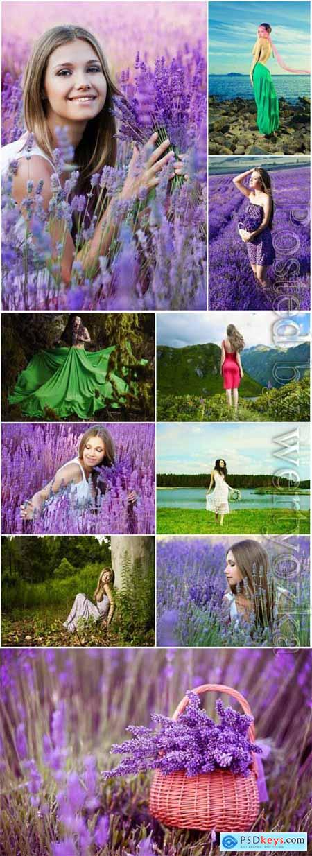 Girls outdoors, lavender field stock photo
