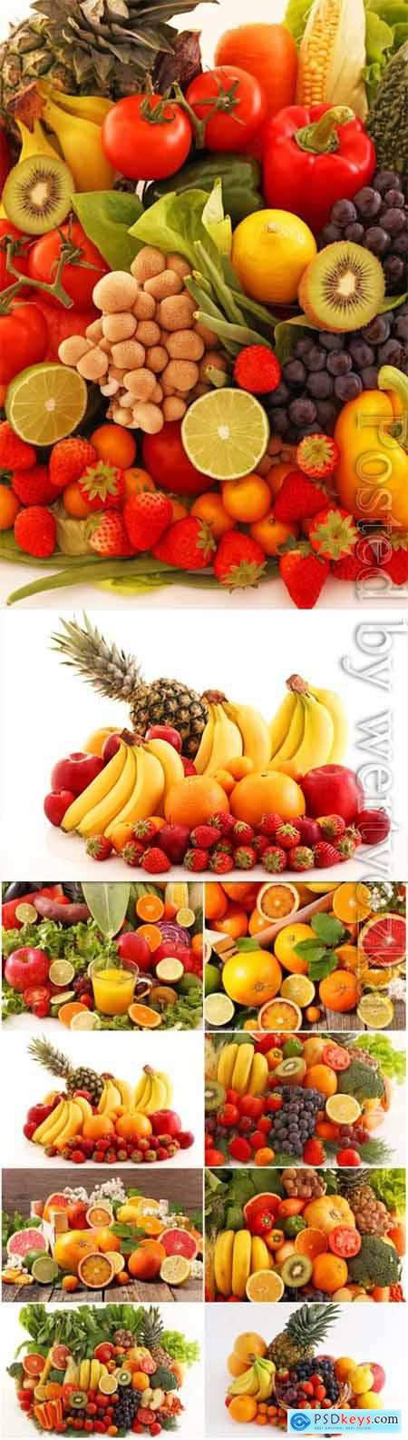 Set of fresh fruits and berries stock photo