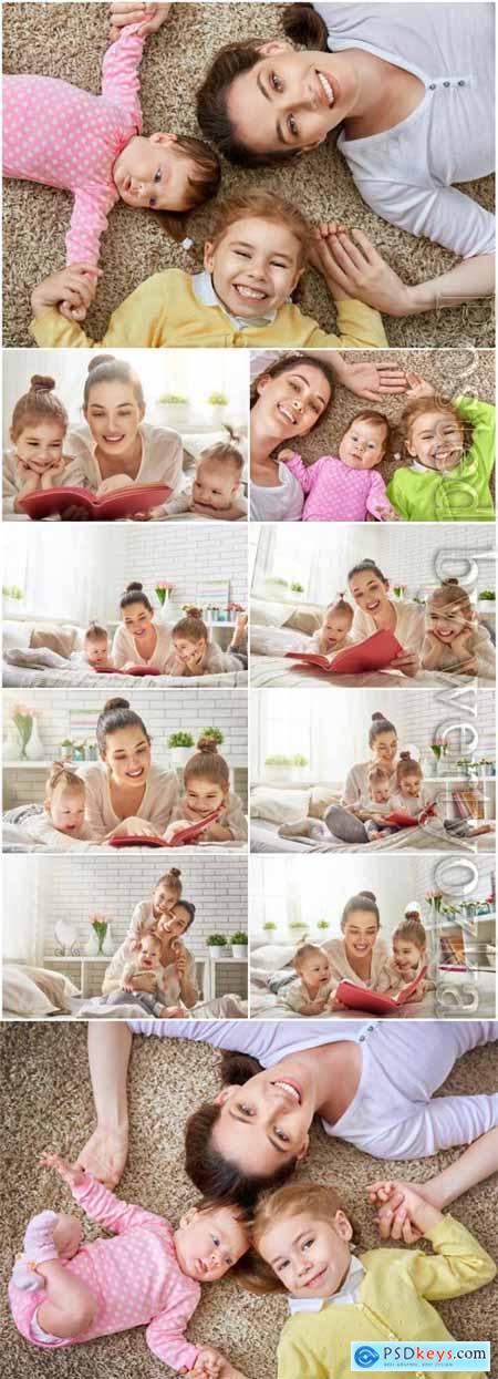 Happy mom with children stock photo