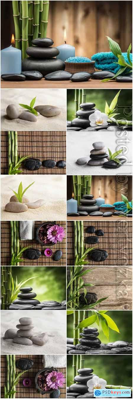Spa backgrounds with bamboo stones and orchids stock photo
