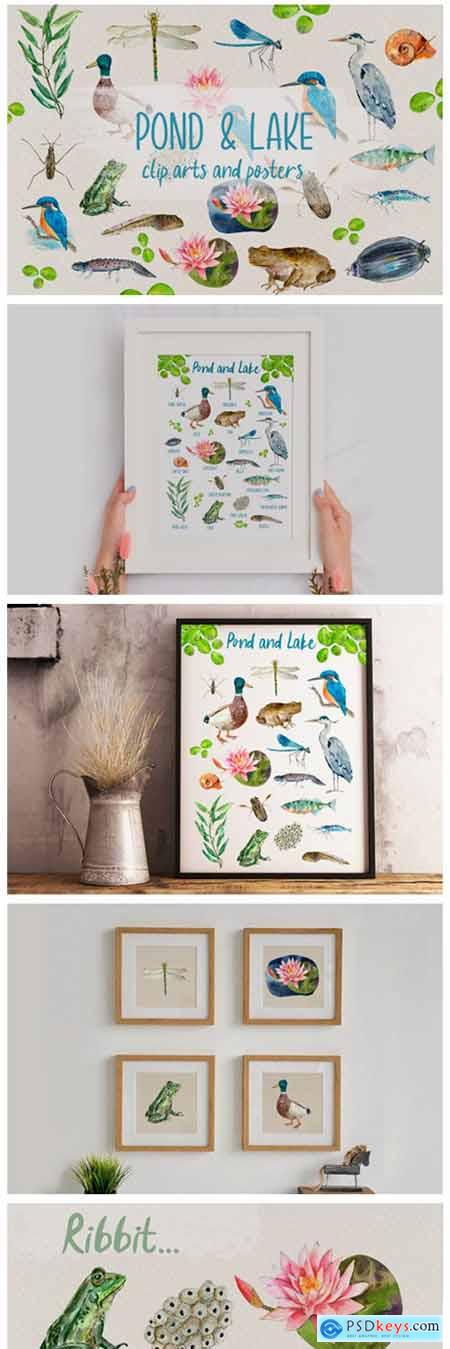 Pond and Lake Clip Arts and Posters 13279128
