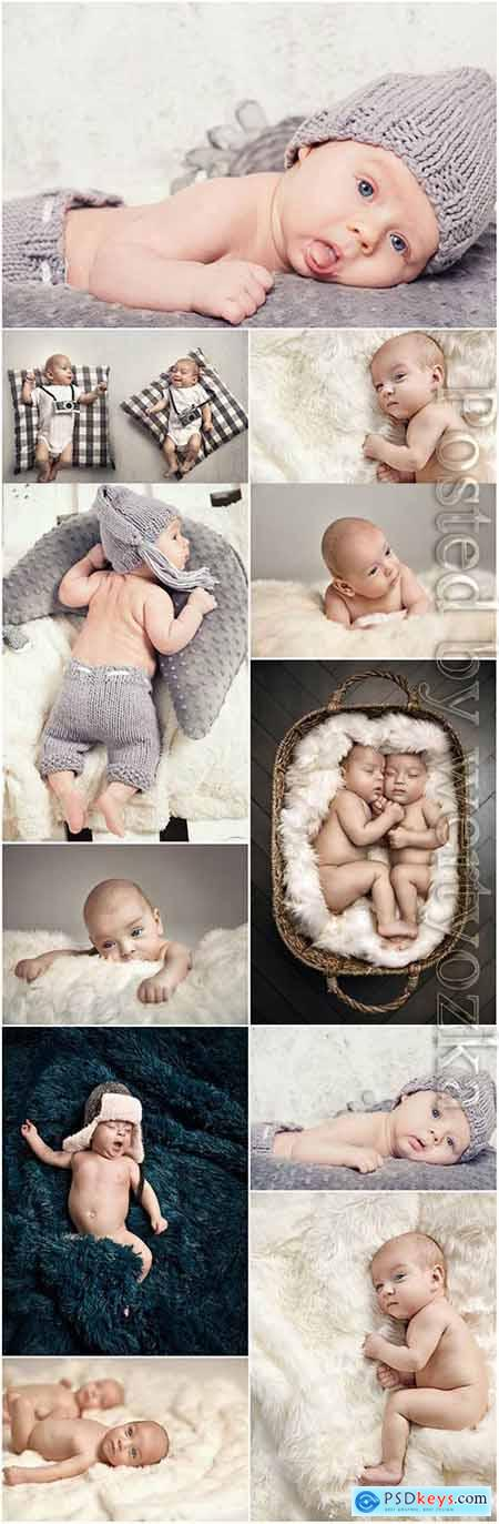 Beautiful photo session of newborn babies stock photo