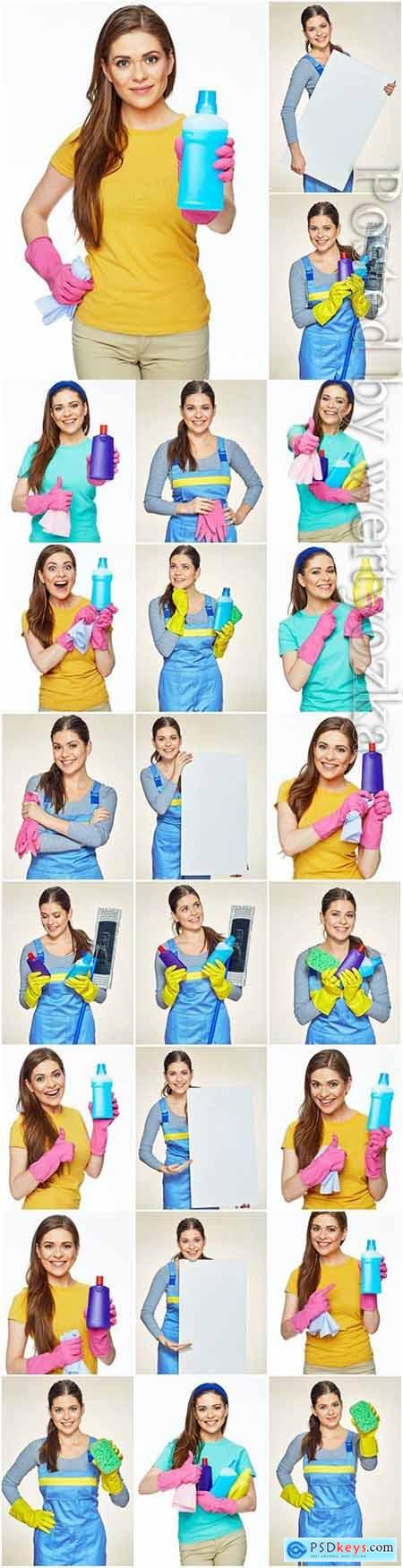 Cleaning service, girl with cleaning products stock photo