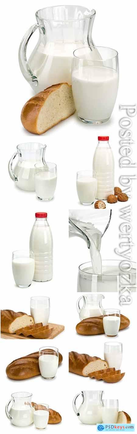Fresh milk and bread stock photo
