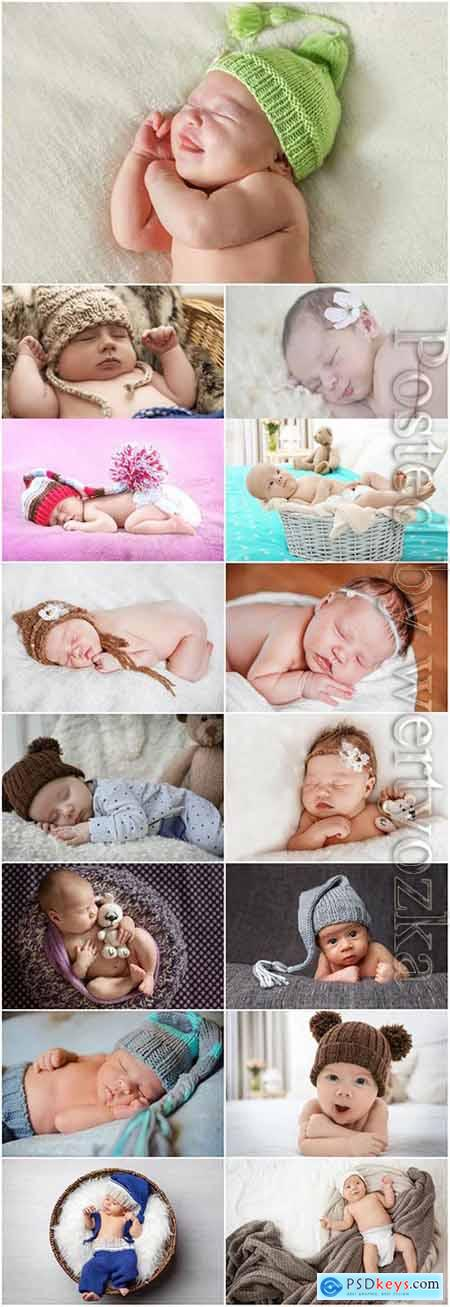 Sleeping babies at a photo session stock photo