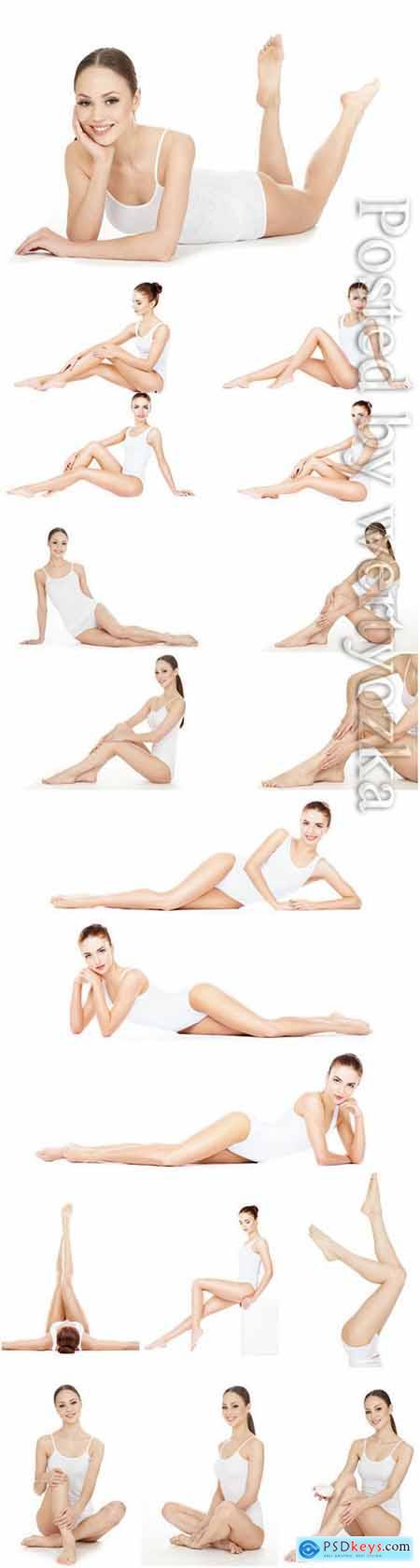 Girl in white bodysuit in different poses stock photo