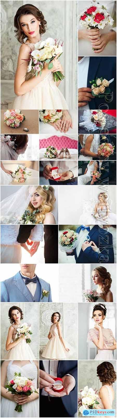 Wedding photo, bride and groom stock photo