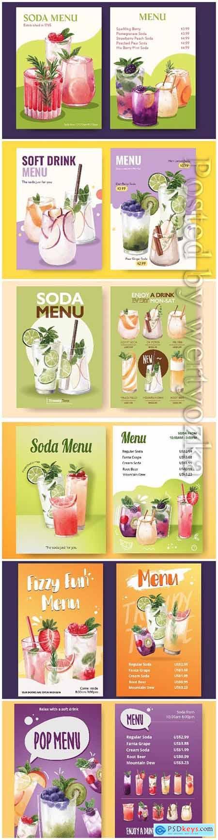 Soda drink menu watercolor illustration