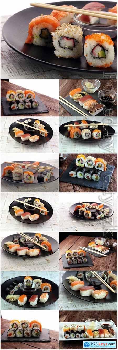 Sushi on black dish stock photo