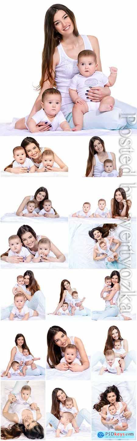 Young mother with children stock photo