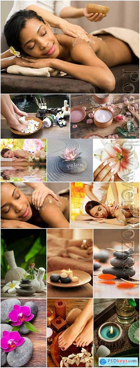 Spa composition and women on massage stock photo