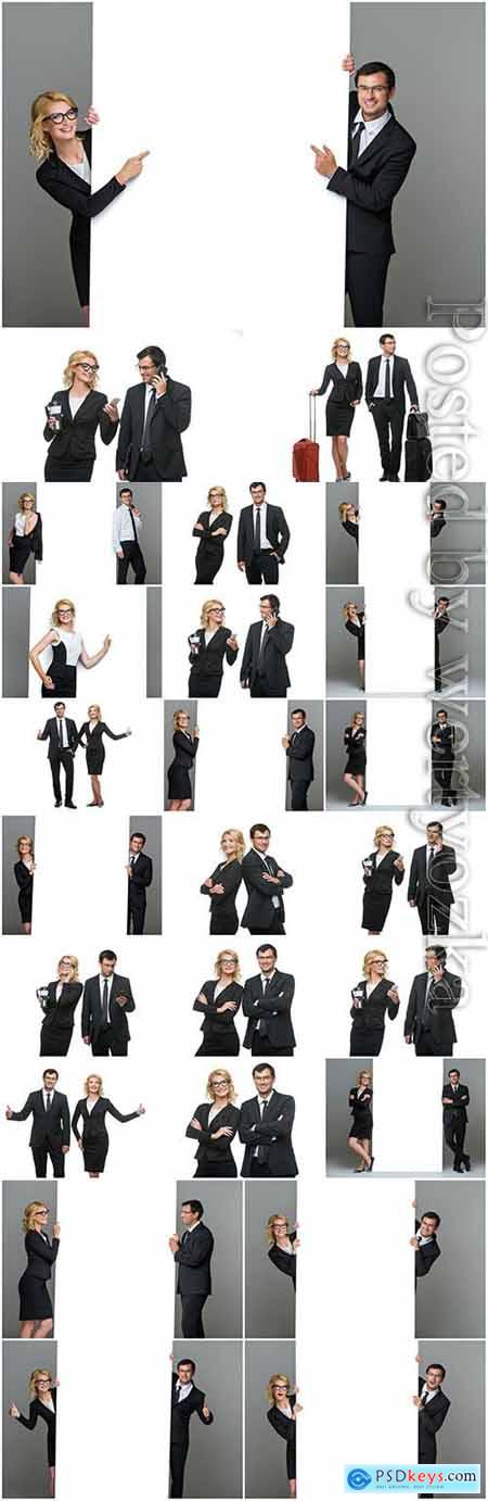 Business people with white posters stock photo