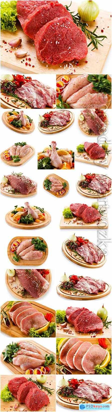 Meat vegetables and spices stock photo