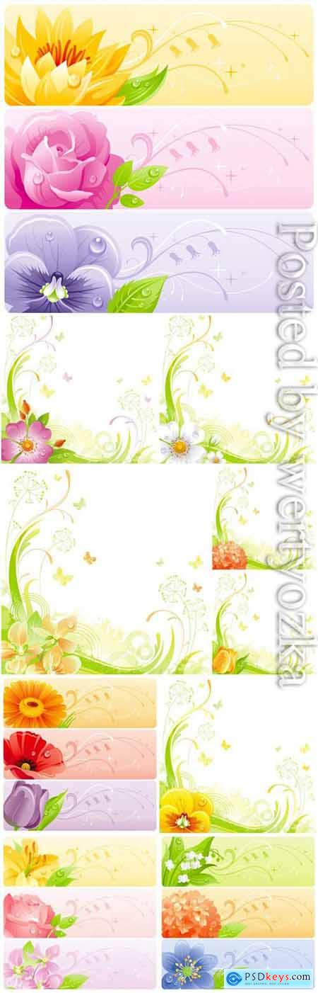 Banners with flowers in vector