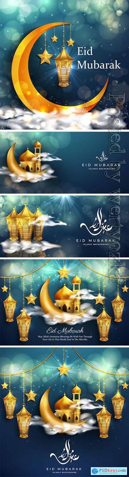 Eid mubarak background with realistic golden lanterns