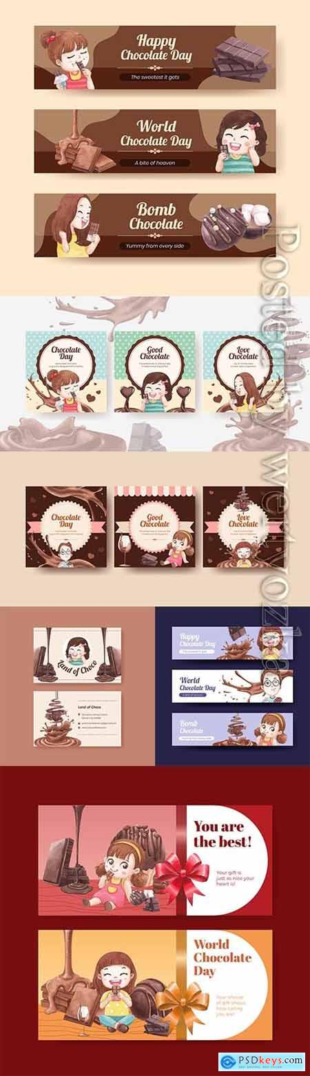 Banner template with world chocolate day concept