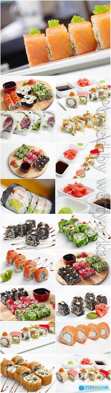 Different types of sushi stock photo