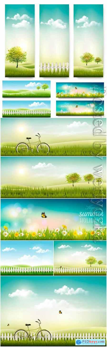 Summer banners and backgrounds in vector