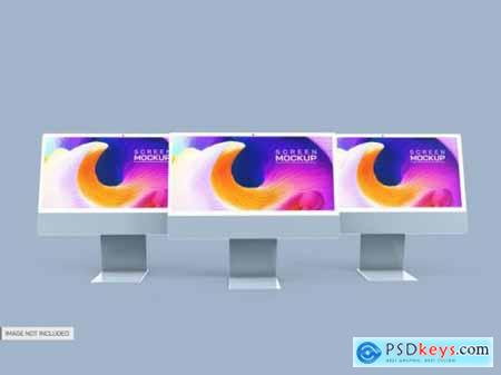 Isolated desktop screens mockup