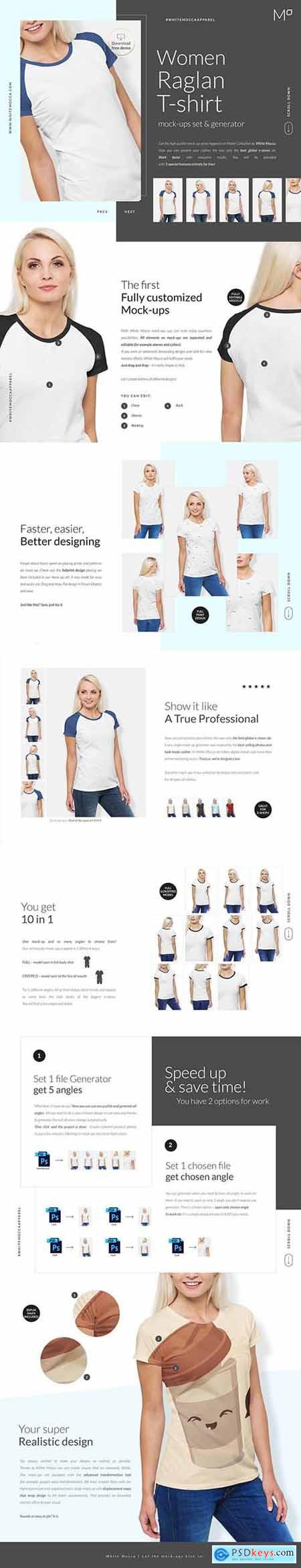 Woman Raglan T-shirt Mock-ups Set 6197552
