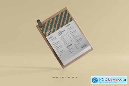A4 size food menu on a wooden board mockup