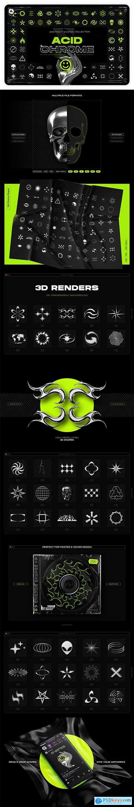 Acid and Chrome Abstract Shapes Collection 31647139