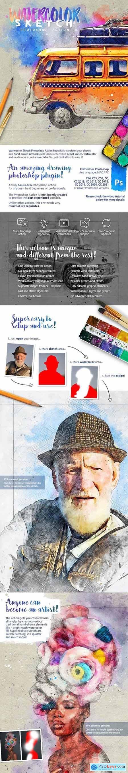 Watercolor Sketch Photoshop Action 32350586