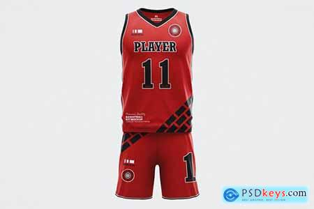 Basketball Jersey Uniforms Set Mockup Template