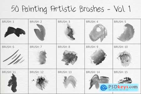 50 Painting Artistic Brushes - Vol. 1 6258396