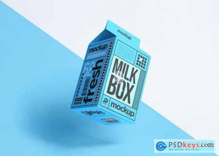 Realistic packaging milk box mockup