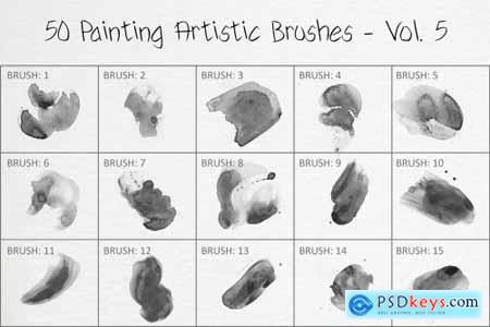 50 Painting Artistic Brushes - Vol. 5 6259372