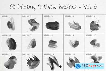 50 Painting Artistic Brushes - Vol. 6 6259375