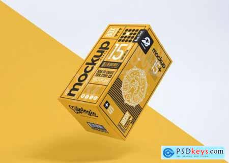 Realistic packaging yellow box mockup
