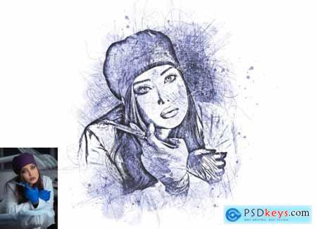 Sketch Portrait Photoshop Action V-2 6249832