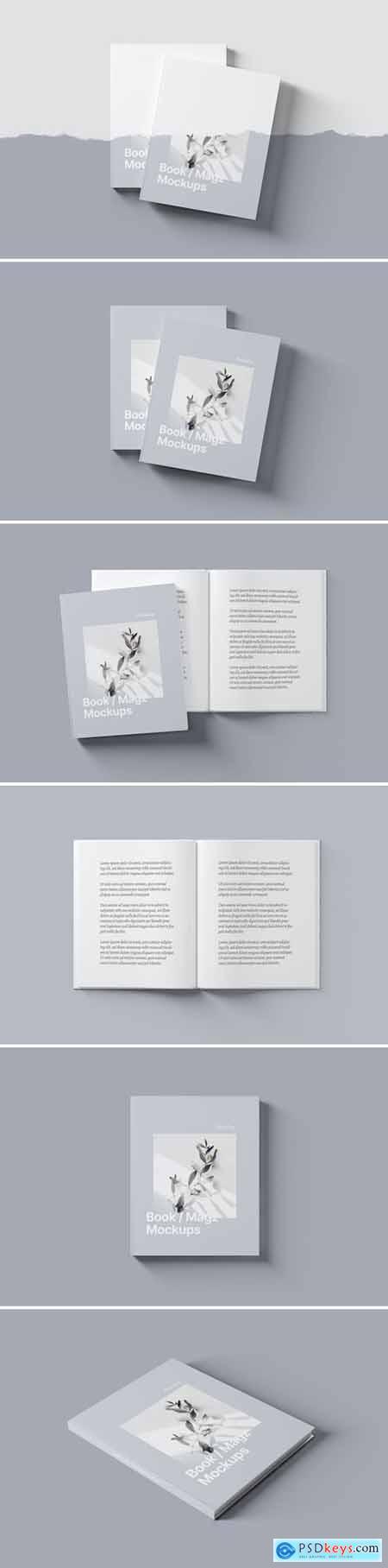 Book - Magazine Cover and Spread Mockups