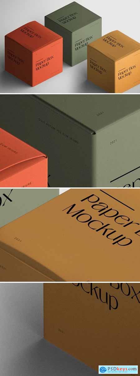 Isometric Paper Square Box Mockup