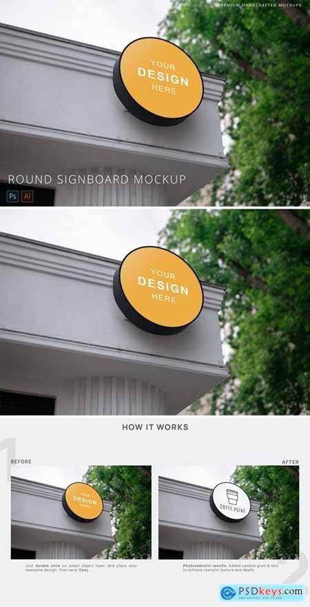 Round Signboard Street Logo Mockup White Building