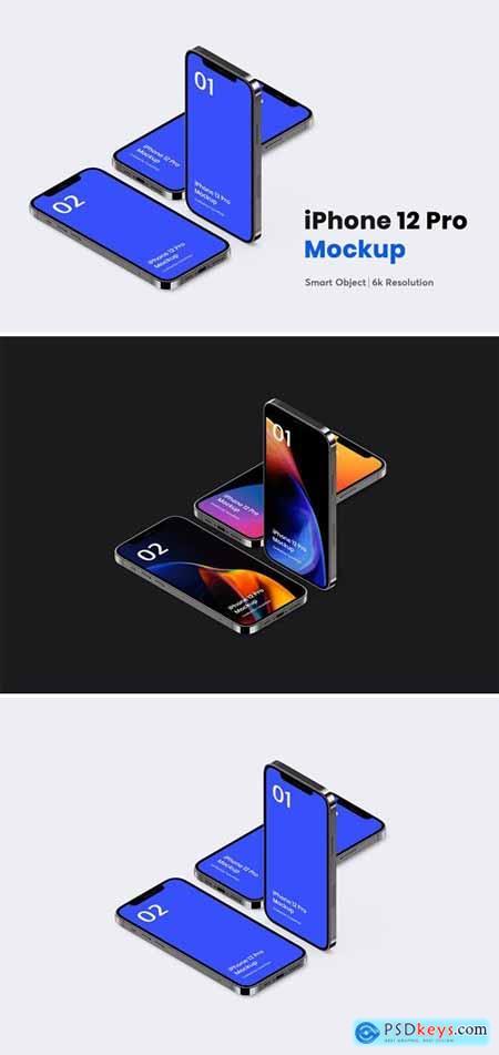 iPhone 12 Pro Isometric Mockup 11