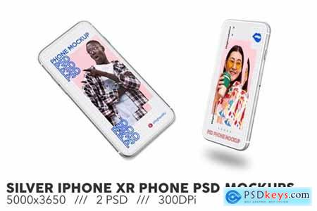 Silver iPhone XR Phone PSD Mockups