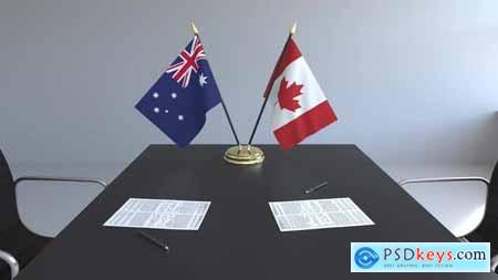 Flags of Australia and Canada and Papers 33039106