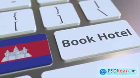 BOOK HOTEL Text and Flag of Cambodia on the Keys 33039122